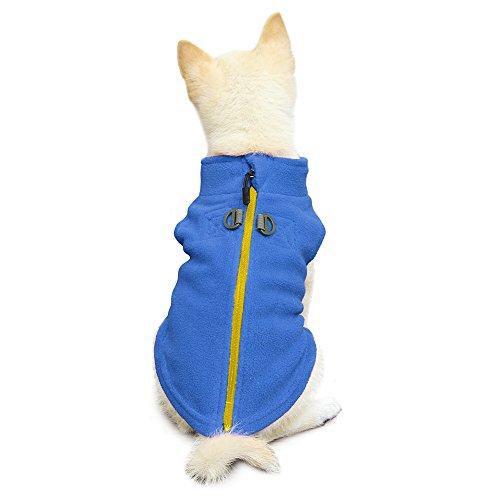 Gooby - Zip Up Fleece Vest, Fleece Jacket Sweater with Zipper Closure and Leash Ring, Blue, Small