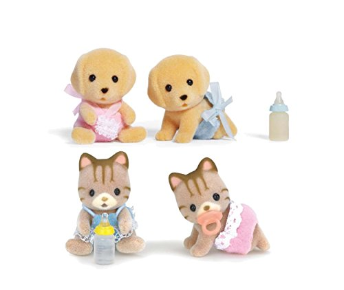 Calico Critters Yellow Lab Baby Twins and Sandy Cat Baby Twins