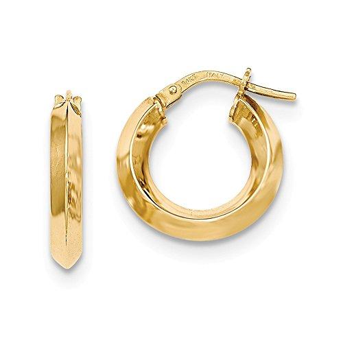 14K Yellow Gold Beveled Tube Hoop Earrings - (0.63 in x 0.13 in)