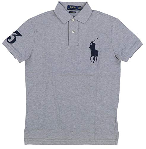 (Polo Ralph Lauren Men's Polo Shirt Custom Slim Fit Two Button Front Placket Big Ponny Short Sleeve Polo Shirts (M, Grey HTR))