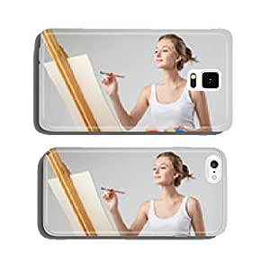 Girl paints on canvas with oil colors over white cell phone cover case iPhone5