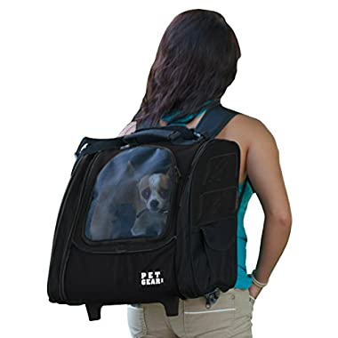 Pet Gear I-GO2 Traveler Roller Backpack For Cats And Dogs, Black - Small - for Pets Up To 20 Pounds