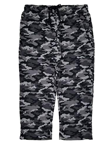 (Joe Boxer Mens Gray Camouflage Microfleece Sleep Pants Lounge Pants Pajama Bottoms XXL)