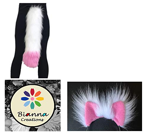 White and Pink Tail and Ears Set, Inspired on Mangle, from five nights at Freddy's, You choose: Ears or set, Super Soft Long Faux Fur, Adult and Kids Costume Dress ()