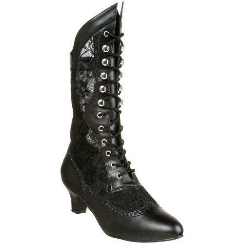 FUNTASMA Victorian Costume Mid Calf Boot Lace Vintage Style Heels DAME-115 Black-7]()
