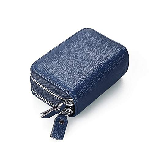 RFID Blocking Two-sides Zipper Leather Business/Credit Card Money Wallet Case Holder by BAKUN, Security Travel Wallet(Blue) (20 Credit Wallet Card)