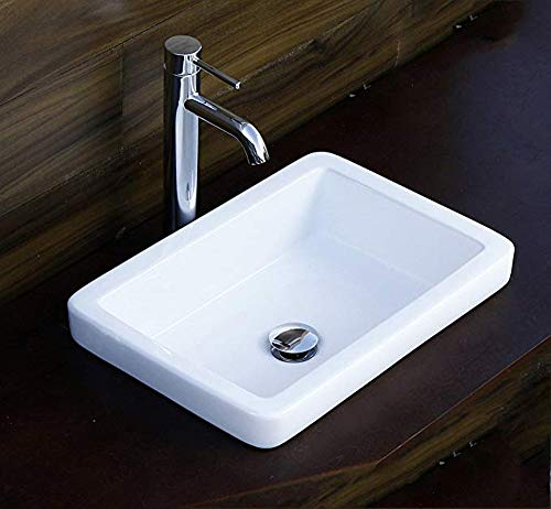 (Elimax's SR-7444/D03 Bathroom Semi-Recessed Ceramic Porcelain Vessel Sink With Chrome Faucet and Pop Up Drain)