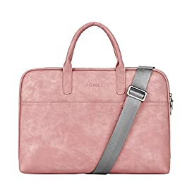 Laptop Shoulder Bag Sleeve Briefcase Case for 13-13.3 Inch Laptops/MacBook/Notebook/Chromebook with PU Leather Fabric and Carrying Strap Pink