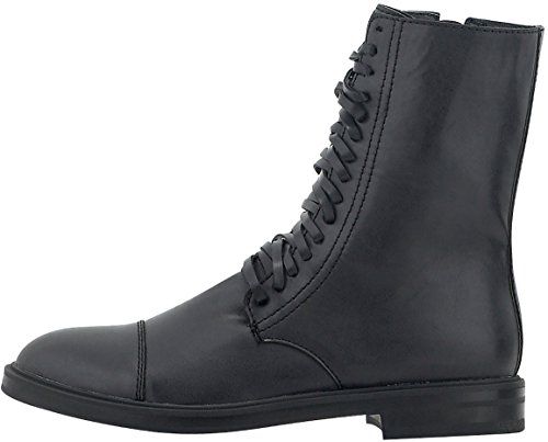 NIKKI ME Women's Casual Combat Boots in Total Black