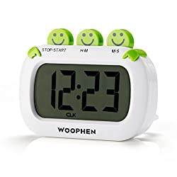 WOOPHEN Digital Kitchen Timer, Easy to Set Large Digital LCD Timer with Stopwatch, Timing and Time Display Function, Small Size, Suitable for Cooking, Baking (White)