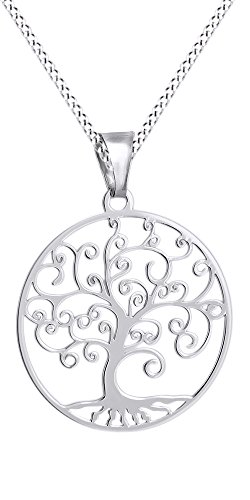 Tree of Life Filigree Pendant Necklace 14k White Gold Over Sterling Silver