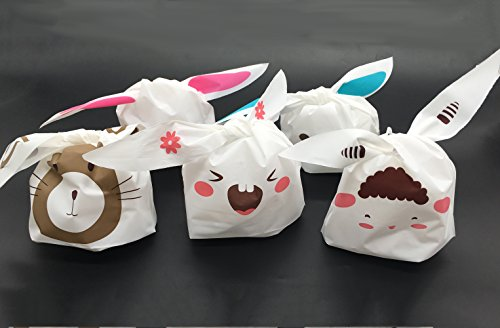 Candy Bags 100Pcs/set, KOOTIPS Easter Bags Lovely Bunny Ears