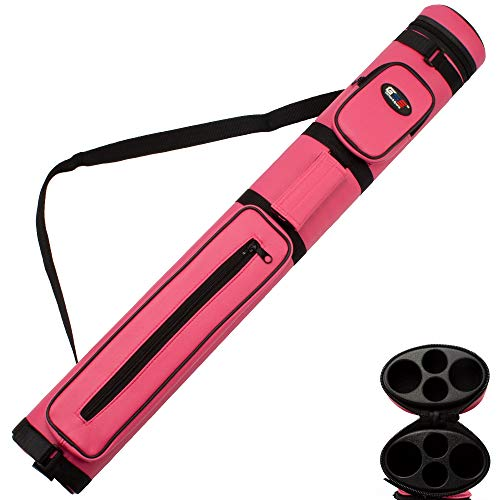 Hard Pool Tube Cue Case (GSE Games & Sports Expert 2x2 Deluxe Oval Hard Billiard Pool Cue Stick Carrying Case (Several Colors Available) (Pink))
