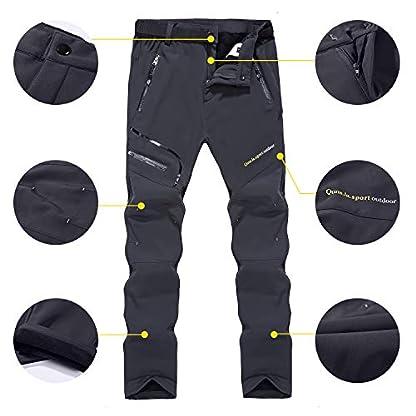 Naudamp Women's Outdoor Quick Dry Hiking Trousers Winter Softshell Windproof Fleece Lined Walking Climbing Pants 3