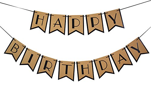 (Brcohco Happy Birthday Banner Rustic Hang Bunting Party Decortions)