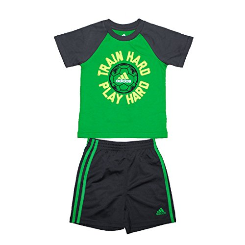2 PCS SET Adidas Little Boys Athletic T-Shirt & Dri-Fit Mesh Sport Shorts 05 Gree