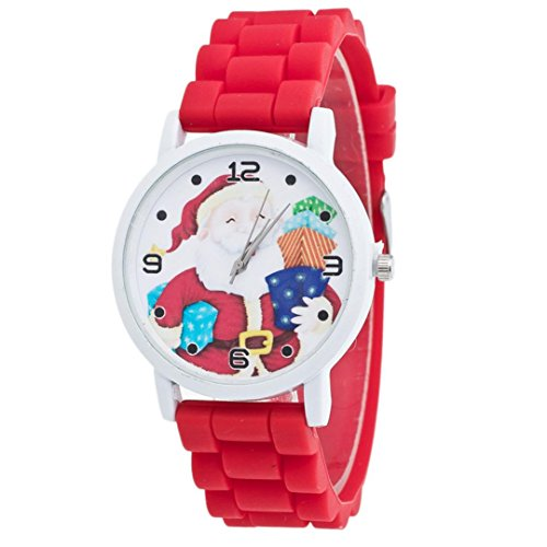 [AMA(TM) Christmas Santa Candy Color Silicone Band Wrist Watch Xmas Gifts (Red)] (Handmade Candy Costumes)