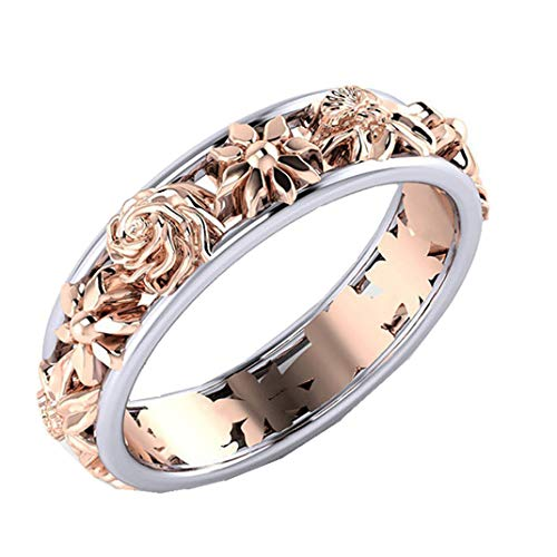 ManxiVoo Women Creative Flowers Double Color Diamond Rings for Wedding Valentine Gift (Multicolor, 8)