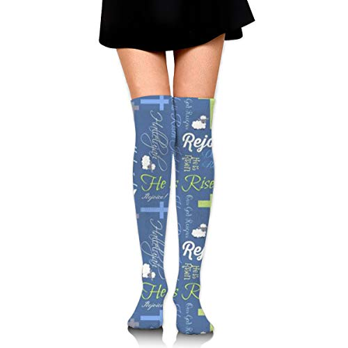 (Guoxichangtuiwa Christian He is Risen Women's Girl's Breathable Cotton Comfortable Fashion Over The Knee High Leg Athletic Thigh Highs Socks,Cosplay)