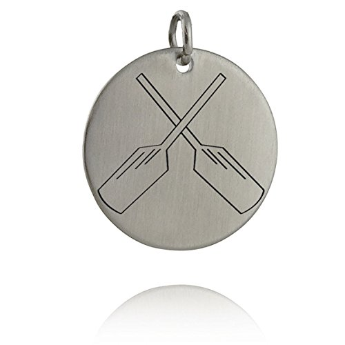 Crossed Oars Charm - Stainless Steel Engraved Charm Rowing Crew Row Pendant - Jewelry Accessories Key Chain Bracelets Crafting Bracelet Necklace Pendants