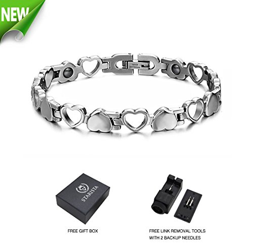 Starista Titanium Steel Magnetic Therapy Bracelet Heart Hollow Hematite Balance Wristband for - Set Diamond Tension Earrings