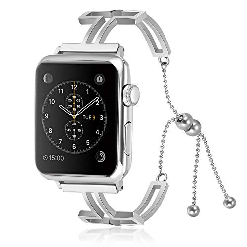 Compatible for Apple Watch Band 44mm, 2018 Jewelry Bangle Cuff for iWatch Bands Series 4 Women Girls Adjustable Stainless Steel Cross Design ()