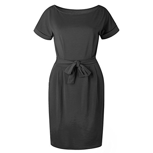 with Women's Sleeve Casual Dress Knee Pockets Length Dark Grey Asskdan Short Belted 8wU4q1d1