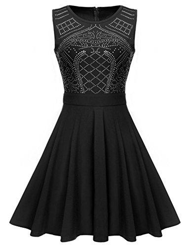 ELEOSL Women's Sleeveless Sequin Embellished Sleeveless Party Skater Dress Black_M