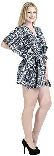 La Leela likre todo en 1 desgaste dsalón corta vestido ocasional superior túnica cordones enfriar ropa playa hawaiano más Szie elásticos señoras la piscina caftán fiesta en la playa dcorto encubren negro