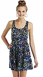 True Freedom Junior Girl's Cut-out Tie Back Skater Dress (S, Blue Cheetah)