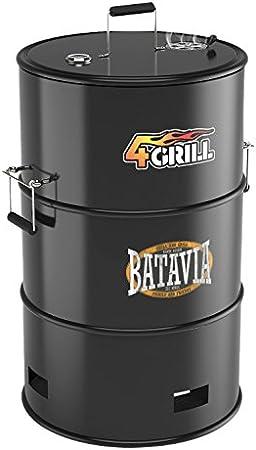 Batavia 4Grill Barril Negro - Barbacoa (Barril, Grid, Negro, Alrededor, Acero inoxidable, Acero inoxidable)