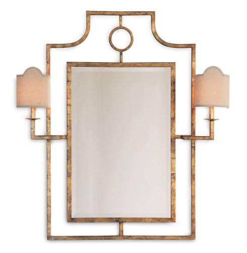 Doheny Hollywood Regency Bamboo Gold Leaf Mirror With Sconces by Kathy Kuo Home