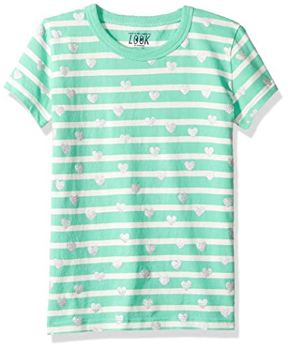 LOOK by Crewcuts Girls' Short Sleeve Heart Stripe T-Shirt, Green/Silver, Small (6/7)