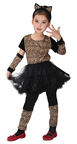 Girls Leopard Cheetah Animal Halloween Costumes Child Role Play Cosplay Dress Up (X-Large)
