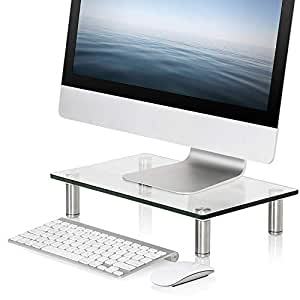 FITUEYES Clear Computer Monitor Riser TV Laptop Stand with Adjustable Leg for Home Office Desk Organizer 38x24cm DT103801GC