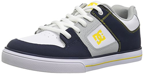 DC Pure Elastic Skate Shoe, Navy, Grey, 1 M M US Little Kid