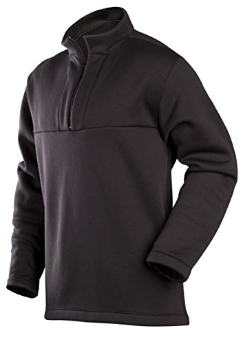 ColdPruf Men's Expedition Single Layer Long Sleeve Mock Zip Base Layer Top, Black, Large (Expedition Single)