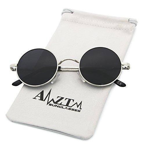 Polarisées AMZTM Lunettes Classique Mode Argenté Ronde Cadre Gris De Lentille Soleil qatZPtw