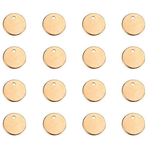(PandaHall Elite 50 Pcs 304 Stainless Steel Flat Round Blank Stamping Tag Pendants Charms Diameter 10mm for Jewelry Making)