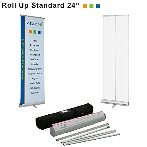 Vispronet - 24in. x 81in. Retractable Banner Stand for Trade Shows, Retail Displays and More - Stand Only, No Banner (Retractable Display)