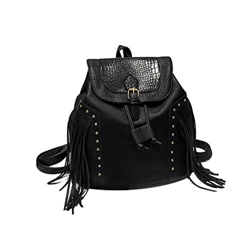 - angel3292 Retro Women Faux Leather Rivet Tassel Drawstring Flap Backpack School Travel Bag - Black