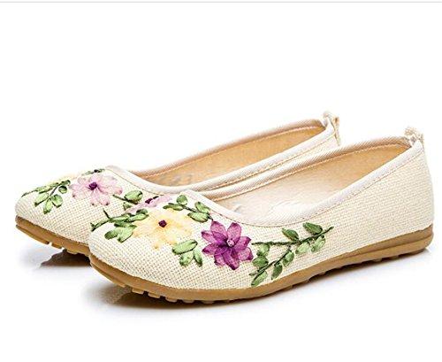 Kenavinca Sapato Fabric Women Flat Peking Flower Beige 3 11 Ballerina Comfortable Cotton Vintage On Slip Linen Flats Old Embroidered Shoes White Feminino raAnrxwq8