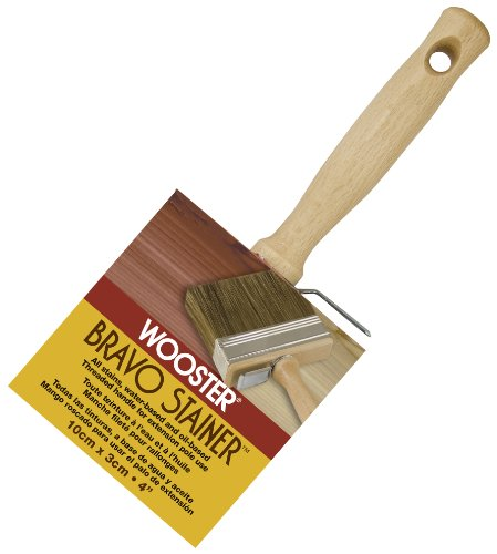 Wooster Brush Not Available F5119-4 Bravo Stainer Bristle/Polyester Stain Brush, 4 Inch, 4-Inch ()