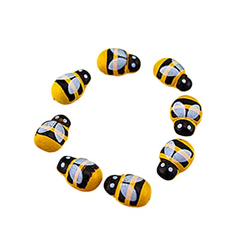 100Pcs 3D Sticker Decor Cute Mini Bee Design Self Adhesive Message Board Fridge Fairy Garden Scrapbooking Ornaments (Scrapbooking Ornament)
