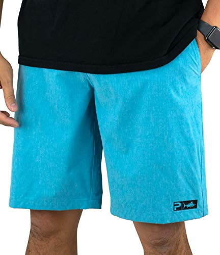 Pelagic Men's Deep Sea Hybrid Shorts for Fishing | Water Activated Fabric Aqua