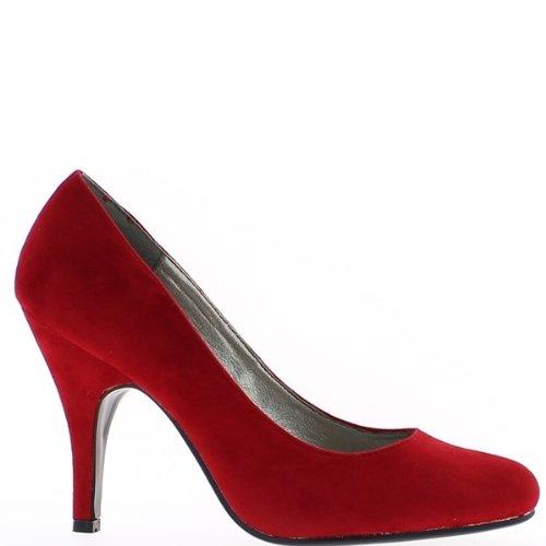 Camoscio aspetto rosso 10cm tacchi scarpe
