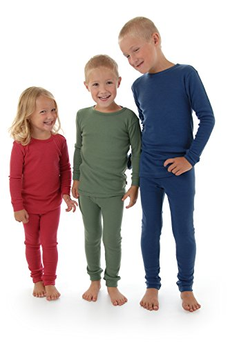 Merino Wool Kids BLUE pajama set. Thermal underwear base ...