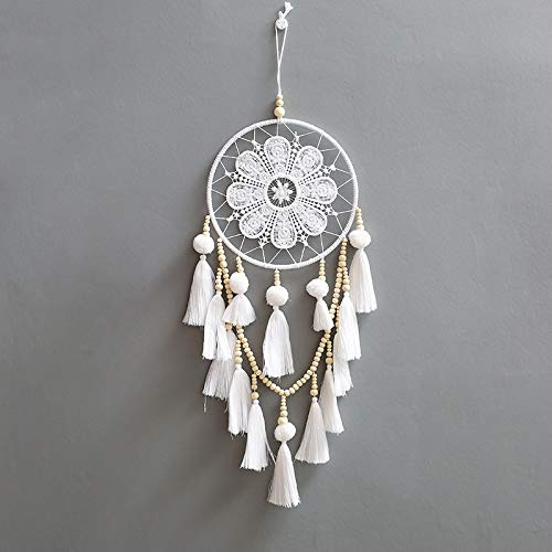 SHELLMIMI Dream Catcher Handmade Indian with Feathers Wall Hanging Decoration Ornament for Home Car Dreamcatcher White with Package Box