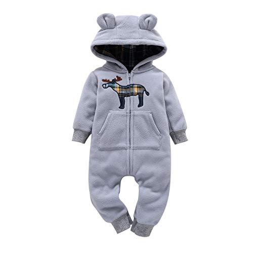 Unisex Newborn Baby Girl Boy Layette Set Rompers Onesie Cartoon Pajamas Warm Fall Winter Hooded Coat Rompers Bodysuit 0-24M (Gray, 6-9 Months)