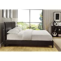 Modus Furniture 7G08S6 Ledge Upholstered Square Platform Bed, California King, Chocolate